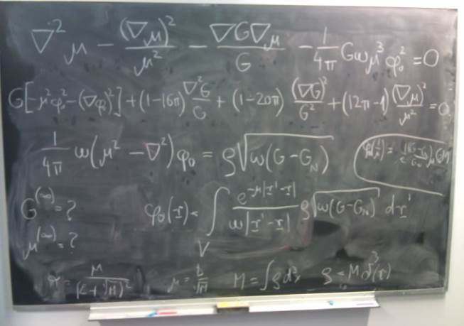 Forbes used a stock Getty image of some physicists in front of a blackboard to illustrate the blog post. Here, allow me to use the image of a bona fide blackboard, one from the Perimeter Institute, containing a few of the field equations of MOG/STVG, during one of our discussions with John Moffat.