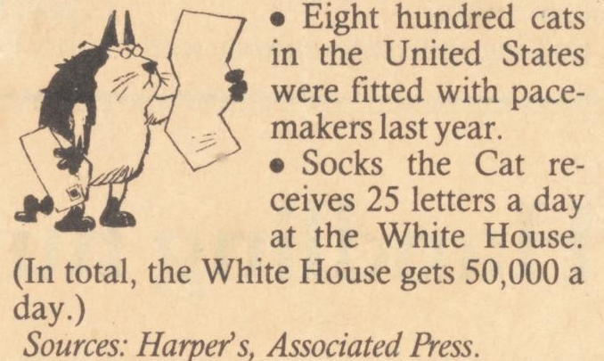 Eight hundred cats in the United States were fitted with pacemakers last year. Socks the Cat receives 25 letters a day at the White House. (In total, the White House gets 50,000 a day.) Sources: Harper's, Associated Press.
